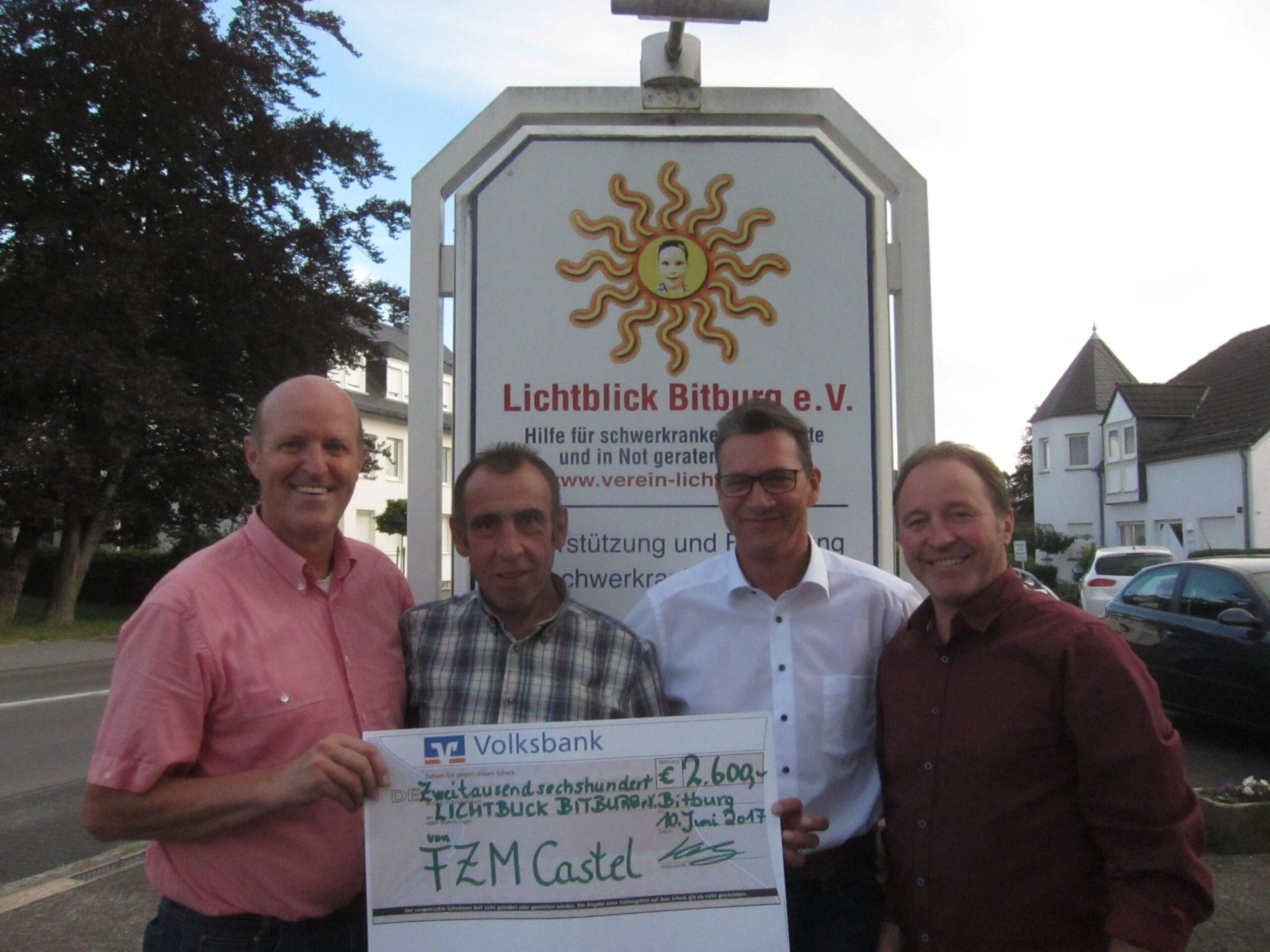 30 – jähriges Jubiläum der Freizeitmannschaft Castel 2.600€ Spende geht an Lichtblick Bitburg e.V.
